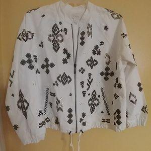 CHICOS White Beaded Zip Up Jacket 3 16-18